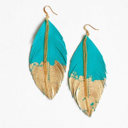 Feather earrings with a pop of colour from Love at First Blush